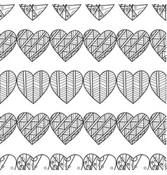 Hearts black and white decorative seamless vector