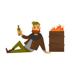 Homeless man beggar or bum vagrant at fire barrel vector