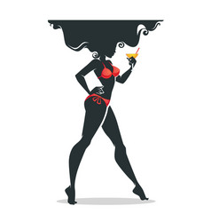 hot summer beautiful girl in bikini drinking vector image