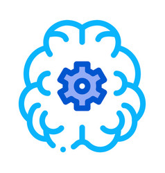 human brain gear icon outline vector image