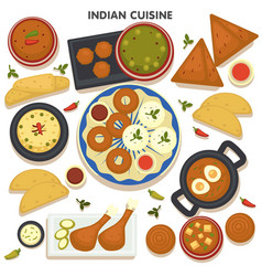 Indian cuisine set traditional asian food vector