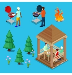 Isometric family grill bbq people cooking meat vector