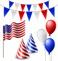 July 4 celebrating item set vector