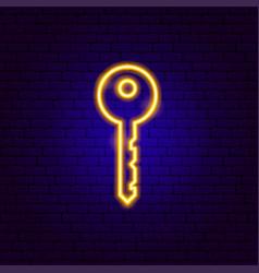 key neon sign vector image