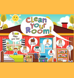 Kids cleaning room chores infographic vector