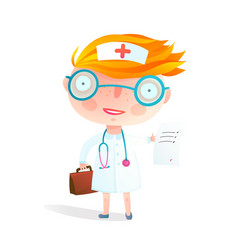 kids nurse or doctor children profession game vector image