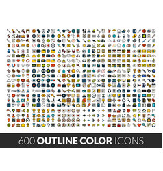 large icons set 600 outline color vector image