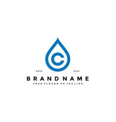 Letter c water drop logo design vector