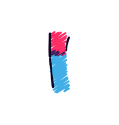 Letter i logo hand drawn with a colored pencils vector
