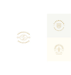 line logos emblems design templates set vector image