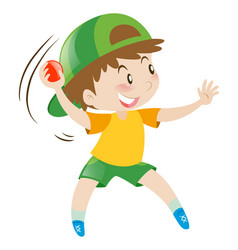 Little boy throwing red boy vector