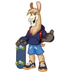 llama skater mascot vector image