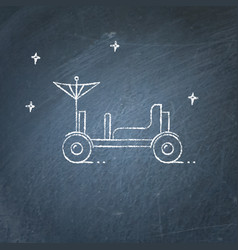 Lunar rover icon on chalkboard vector