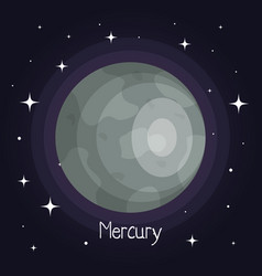 Mercury planet in space with stars shiny cartoon vector