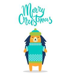 Merry christmas greeting card cute hedgehog in hat vector