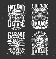 motorcycle biker skull custom choppers garage vector image