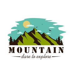 Mountain explorer adventure logo badge vector