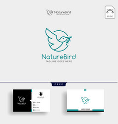 nature bird line art or outline logo template and vector image
