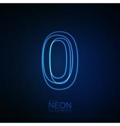 Neon 3d number 0 vector