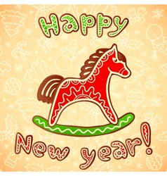 New year and christmas sweet horse vector image
