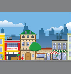 old building and market vector image