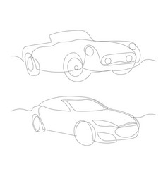 One line cars design silhouette vector