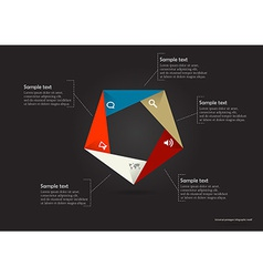 pentagon origami infographic vector image