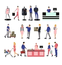 People silhouettes in shopping mall Icons vector