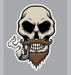 Pirate skull with pipe mustache and beard vector
