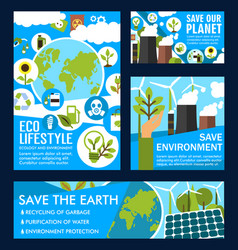 Posters for ecology planet saving vector