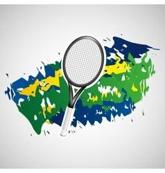 racket tennis olympic games brazilian flag colors vector image
