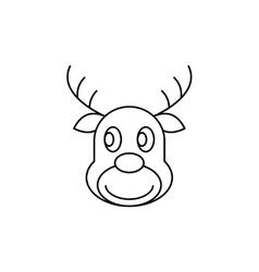 Reindeer Christmas thin line icon vector image