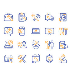 repair line icons set of hammer screwdriver and vector image
