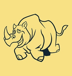 Rhino run line art vector