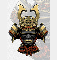 samurai helmet with dragon face accessories vector image