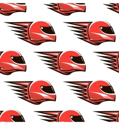 Seamless pattern of red racing helmet with speed vector