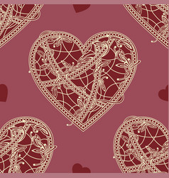 Seamless patterns heart vector