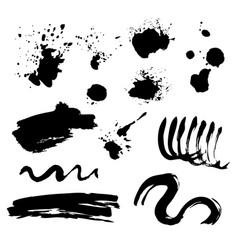 Set black ink stains vector