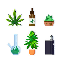 set cannabis products icons drug consumption vector image