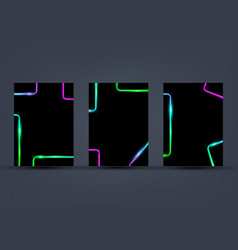 set colorful rectangle templates with neon vector image