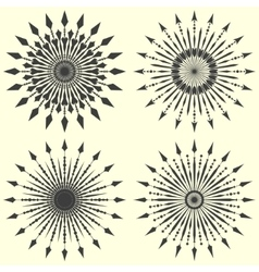 Set of arrow sunbursts vector image