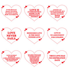 Set of quotes about love over white background vector