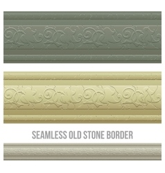 Set of seamless borders stone marble vector