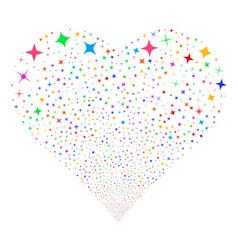 Shine stars fireworks heart vector