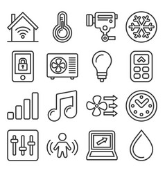 smart home icons set on white background line vector image
