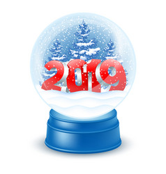 Snowglobe with numbers 2019 vector