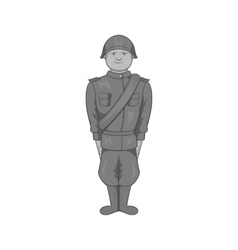 Soldier icon black monochrome style vector