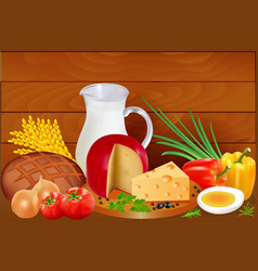 Still life of bread milk cheese tomatoes onion vector