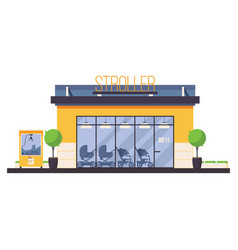 Store front for stroller shop baby transport shop vector