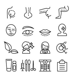 Surgery icon set in thin line style vector